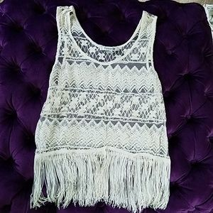 Tops - Lace fringy blouse